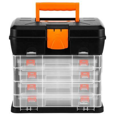 Utility DIY Storage Tool Box Carry Case 4 Drawers Screw Organiser Hobby Dividers