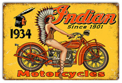 Indian Motorcycle Pin Up Girl Reproduction Garage Metal Sign 16x24
