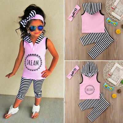 2Pcs Toddler Kids Baby Girls Hoodies Tops Pants Stripe Outfits Clothes Summer UK