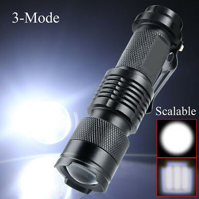 Mini 1200LM CREE Q5 Waterproof Zoomable LED Flashlight Hiking Torch Lamp 3 Modes