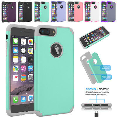 For iPhone 6 6S 7/8 Plus Hybrid Dual Layer Protective Rubber Slim Hard Case Cove