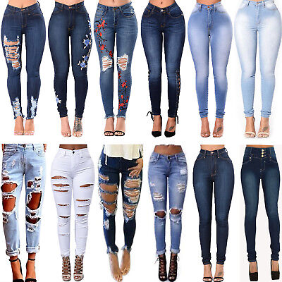 Women Denim Pants Ripped Destroyed Jeans Slim Skinny Stretch Pencil Trousers AU