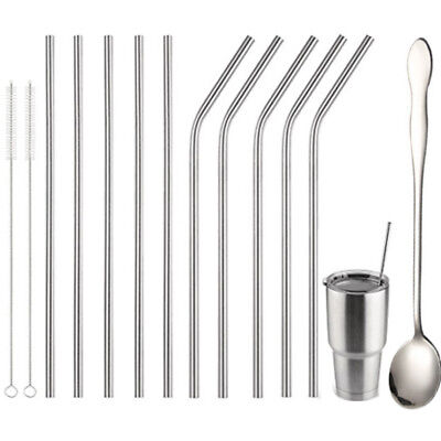 304 Metal Drinking Straws Stainless Steel Spoon Straw Cleaner Party Reusable Bar