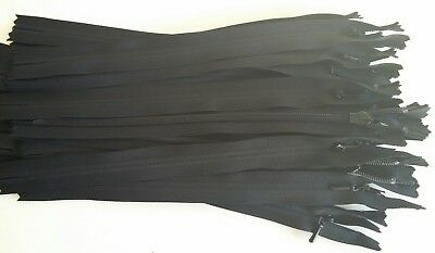 25 x Black Genuine YKK Concealed/invisible zips 23cm/9inch for trouser/skirt