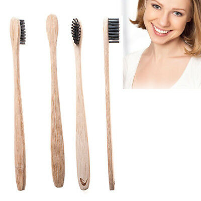 4Pcs/Set Bamboo Toothbrush with Charcoal Bristles Natural Dental Care for Home F