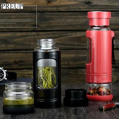 430ML Two Sections Glass Water Bottle High Borosilicate Glass Liner Portable Cup