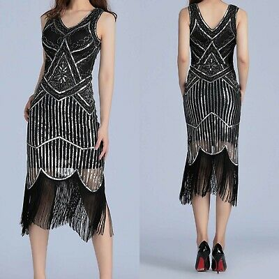 1920s gatsby vintage flapper lace sequin Tassel Sleeveless Party Hot  Maxi Dress
