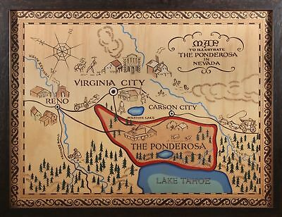 "BONANZA MAP OF THE PONDEROSA A4 GLOSS POSTER PRINT LAMINATED 10.7""x8.3"""