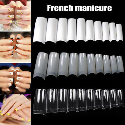 100/500pcs Nails Half French False Nail Art Tips Acrylic UV Gel Manicure Tip