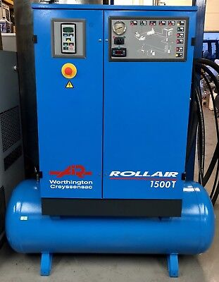 Worthington RLR1500T Receiver Mounted Rotary Screw Compressor With Dryer! 11Kw!