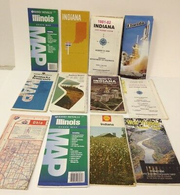 Vintage Random Collection of Maps Indiana Illinois Florida West Virginia