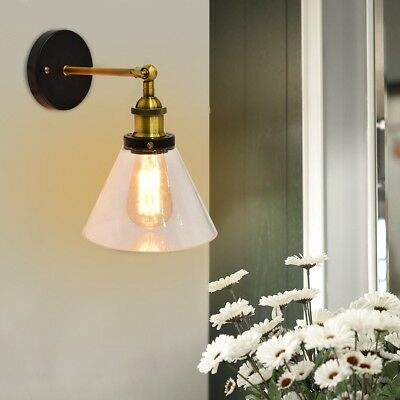 """Industrial Edison Vintage Simplicity Glass Wall Sconce Metal Base 11"""" x 7"""" x 12"""""""