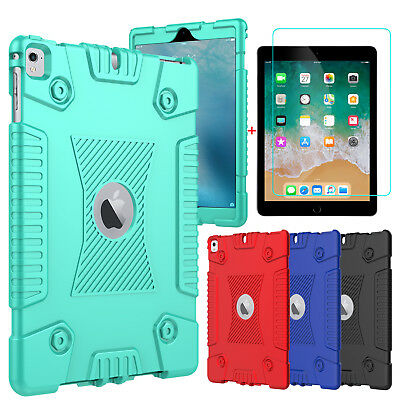 For iPad 9.7 inch 5th/6th Gen 2018 Soft Tablet Case Cover+Glass Screen Protector