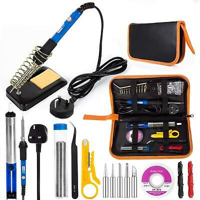 60W Electric Soldering Iron Kit  Welding Gun Tips Stand Wire Flux Cleaner Sponge
