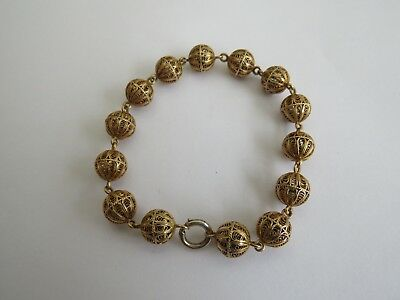 Antique 18Ct Gold Filigree Beaded Bracelet