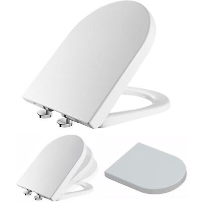 Luxury White D-Shape Soft Close Toilet Seat with TOP FIXING Hinges Heavy Duty UK