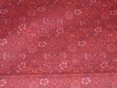 Vtg 80s Small Maroon Moroccan Scrolls Floral Quilt Doll Fabric 36x42 BTY #ff517