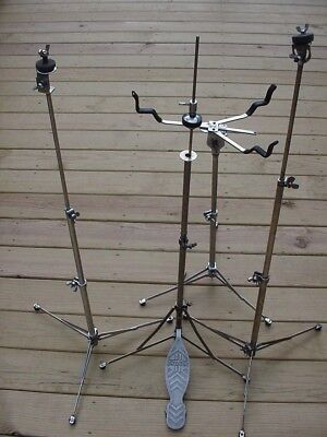 Gretsch round badge snare drum stand, hi hat, 2 flat base cymbal stands vintage