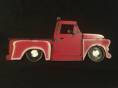 NEW Large Tin Old Vintage LittleRed Truck Man Cave Rustic Decor Pickup Farmhouse