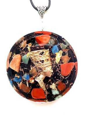 Orgone pendant Egyptian Queen,24K Gold,EMF protection,energy.Amulet (large)