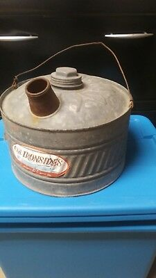 Rare Vintage Galvanized Outdoor Gas Can 'old Ironsides' Label 2.5 Gal Since 1898