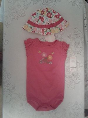 Nwt Gymboree Spring Blossom One Piece Short Sleeve Pink Floral Top Hat Sz 6- 12 030a2957bd5