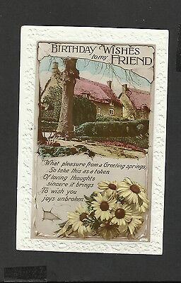 Vintage Greeting Postcard Birthday Wishes To My Friend Unposted