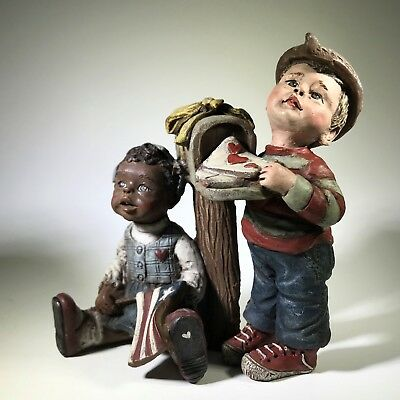 Sarah's Attic Figurine 1990 White Boy Black Girl Military FOREVER IN OUR HEARTS
