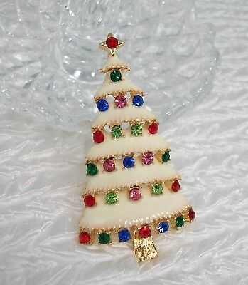 Christmas Brooch Pin Xmas Tree Enameled Multi-Color Rhinestones NEW in Gift Bag