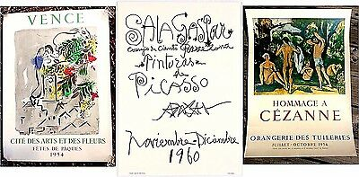 Picasso Chagall Cezanne 3 Original Vintage Lithograph Posters Instant Collection