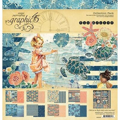 """NEW  Graphic 45 12"""" x 12"""" Papercrafting Set Sun Kissed"""