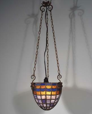 *Vintage Stained Glass and Wrought Iron Hanging Lamp/Chandelier
