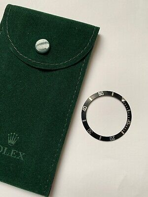 Rolex Bezel Insert Black & Silver/ Rolex Travel Pouch (genuine Items) 16610