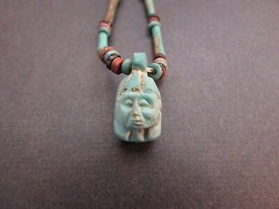 NILE  Ancient Egyptain Face Amulet Mummy Bead Necklace ca 1000 BC
