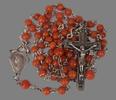 Art Deco French Antique Genuine Coral Beads and Sterling Silver Rosary