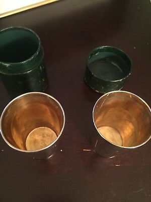 Antique Silver Metal German Two Travel Drinking Cups Leather Case C. F. Rumpp
