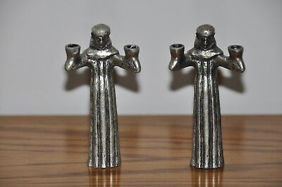 """2 Gothic Medieval Monks Friars Pewter Candle Holders 3 1/4"""" Tall"""