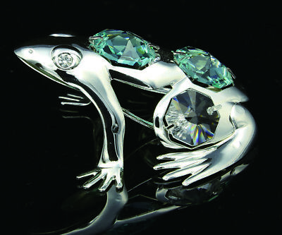6cad9a46a Swarovski Turquoise Crystal Element Studded Frog Figurine Ornament Silver  Plated