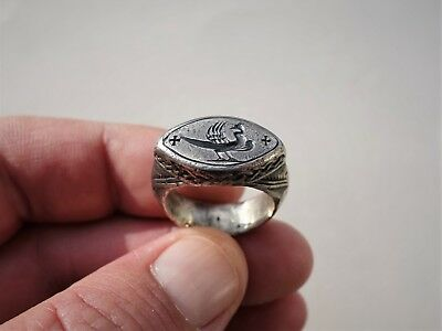 Roman-Byzantine silver carved ring delayed a walking bird between two crosses
