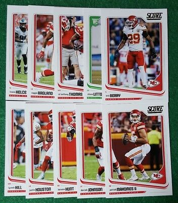 2018 Score Kansas City Chiefs Team Set. Patrick Mahomes II,  13 cards 1 RC