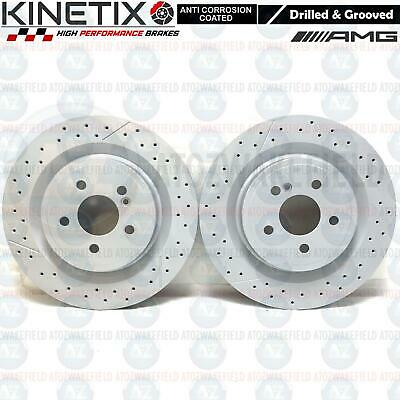 FOR MERCEDES A45 AMG REAR DRILLED GROOVED PREMIUM BRAKE DISCS PAIR COATED 330mm