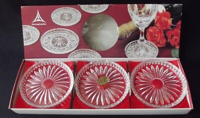 Lovely Boxed Set Of 6 German Annahutte Bleikristall Lead Crystal Coasters - Nib
