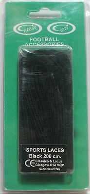 Pair of black sports shoe laces, everyday shoes, 200 cm, 2 packs for £1.59, new