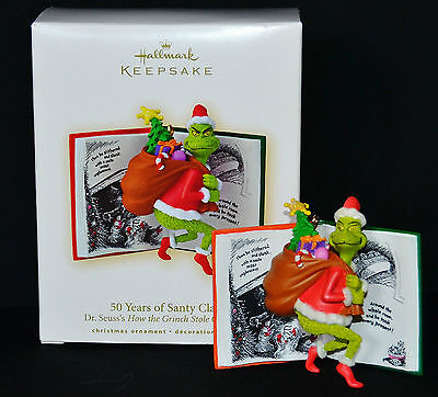 * 2007 *  GRINCH 50 YEARS OF SANTY CLAUS  Hallmark Ornament DR SEUSS  NEW!