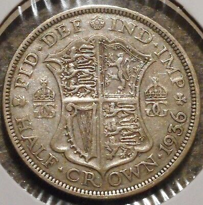 British Silver Half Crown - 1936 - King George V - $1 Unlimited Shipping