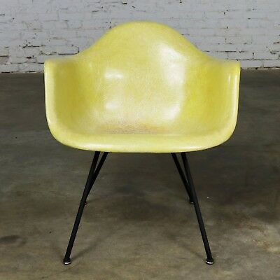 Eames Herman Miller LAX Fiberglass Arm Shell Chair X Base Zenith Rope Edge Yello