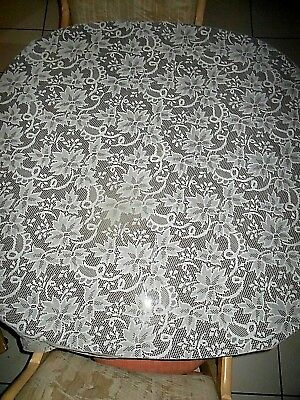 64-in. Diameter Round Spanish Cutout Lace White Christmas Poinsettia Tablecloth