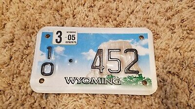 Wyoming Motorcycle License Plate,10 452, with 2005 dated sticker. Nice Shape!
