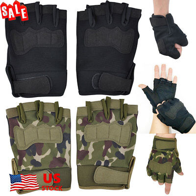 Mens Tactical Military Camouflage Combat Gloves Airsoft Work Half Finger Gloves
