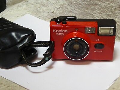 Konica Pop 35mm Film Point & Shoot Camera in Red + case no flash